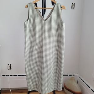 Vintage Cream and Green Houndstooth Shift Dress